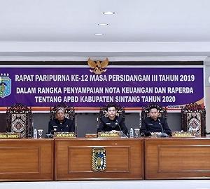 RAPAT PARIPURNA KE -12 MASA PERSIDANGAN III DI RUANG SIDANG DPRD KABUPATEN SINTANG TAHUN 2019