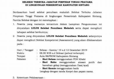 Penetapan Hasil Seleksi Penulisan Makalah Seleksi Terbuka Jabatan Pimpinan Tinggi Pratama Di Lingkungan Pemerintah Kabupaten Sintang