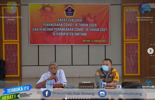 Bupati Sintang Pimpin Rapat Evaluasi Penanganan Covid-19 Tahun 2020 Dan Rencana Penanganan Covid-19 Tahun 2021 Di Kabupaten Sintang