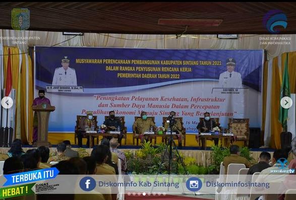 Bupati Dan Wakil Bupati Sintang Buka Kegiatan Musrenbang Kabupaten Sintang Tahun 2021