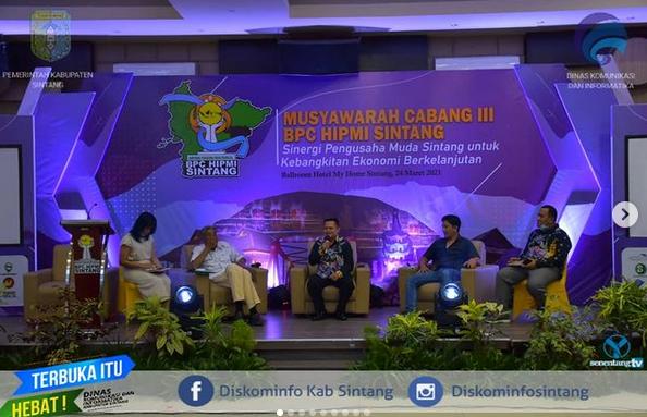 Bupati Sintang Jarot  Winarno Menjadi Pembicara Diacara Musyawarah  Cabang III BPC HIPMI Sintang